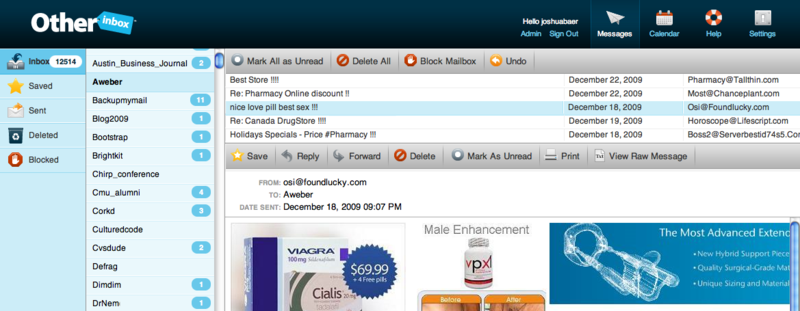 OtherInbox Screenshot of AWeber Mailbox